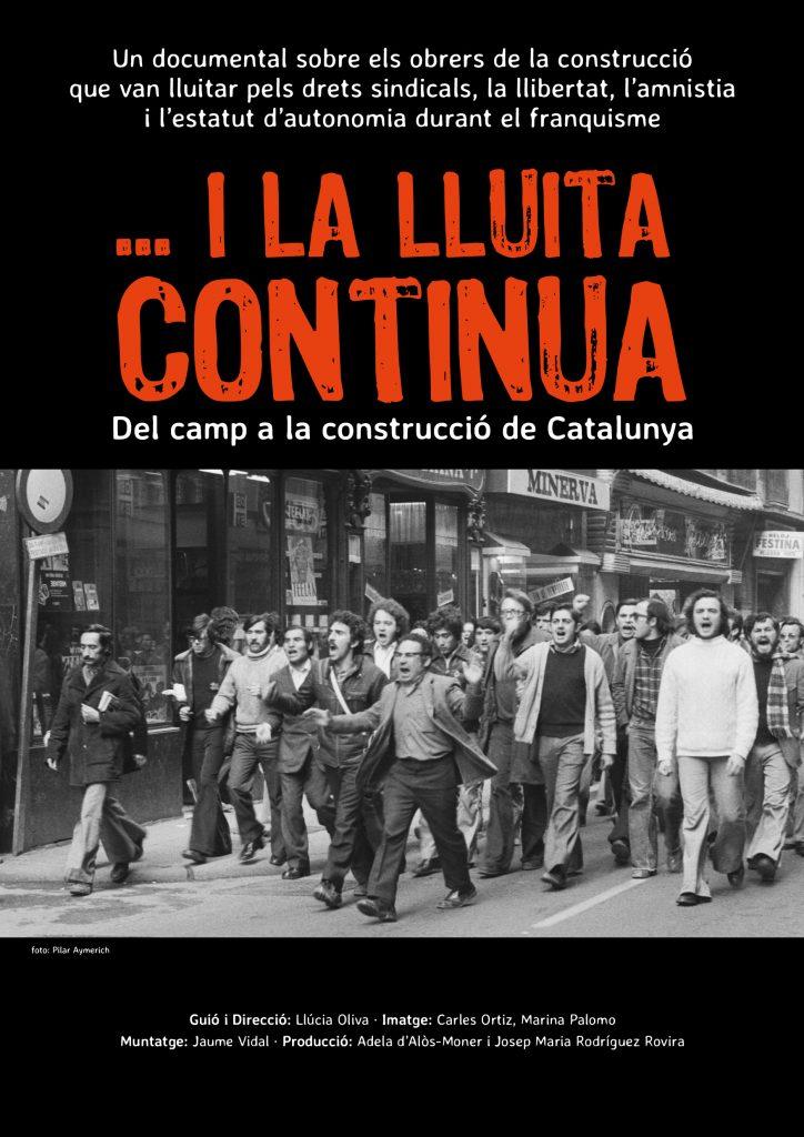 Cartel documental i la Lluitca Continua. Fons negra, lletres vermelles